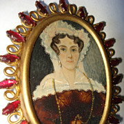 SALE Miniature Portrait Georgian Woman