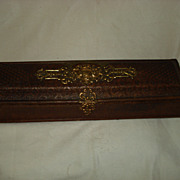 SALE Carved Leather Napoleonic Glove Box