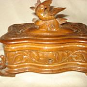 SALE German Carved Black Forest Bird Box