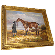 SALE Painting of Horse and Rider