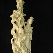SALE Asian Hand Carved Lamp Of Two Geishas