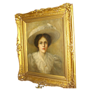 SALE Oil on Canvas Of Woman In Hat
