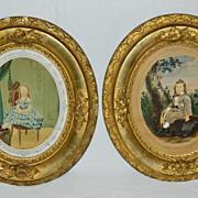 SALE Civil War Water Colour  Portraits of Children c19th