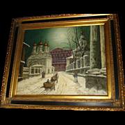 SOLD Russian Oil On Canvas Winter Scene