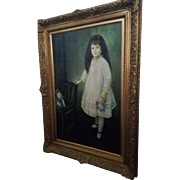 SALE Portrait of A Young Girl With Doll