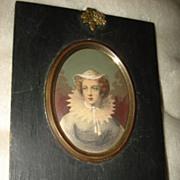 SALE Miniature Original Austrian Engraving Mary Queen Scot's