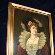 SALE German Oil On Canvas Tudor Court  Noble Woman 19c