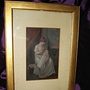 SALE English School Water Colour Painting Mother and Baby