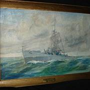 SALE Large Painting of Battleship Destroyer 1944 USS Eversole De 404