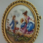 SALE Vintage French Hand Painted Limoges Courtship Brooch