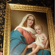SALE c19th Italian Oil On Canvas Madonna and Christ Child