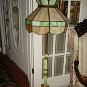 Vintage Rare Slag and Marble Pole Lamp c1920
