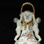 SALE Sitzendorf Hand Painted Cherub Urn