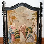 SALE 19th Century Tapestry Fireplace Screen