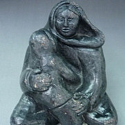 SALE Genuine Wolf Inuit Stone Carving Of A Woman