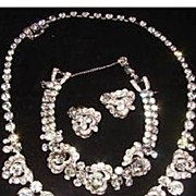 Vintage Signed Weiss  Clear Rhinestone  Parure Set