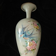 SALE Belleek Artist Signed Rare  Bluebird and Roses Vase