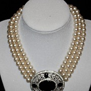 SALE Panetta Faux Pearl and Ebony Necklace
