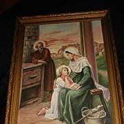 "SALE Large French Religious Genre ""Holy Family"" Oil on Canvas"