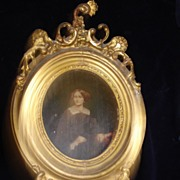 SALE Civil War Period Portrait of Woman Oil On Board c18th