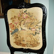 SALE Victorian Dove Needlepoint Fireplace Screen c19th