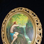 SALE Large Vintage Nude Woman By Waterfall