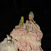 SALE Dresden Lace Figurine Woman With Dog And Parrot