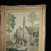 SALE European Exterior Painting Of Church