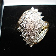 SALE Vintage 10kt yellow Gold Diamond Cocktail Ring