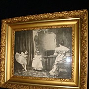 "SALE Black and White Print ""Dancing Lessons"" Wood Gilt Gesso Frame c1900"