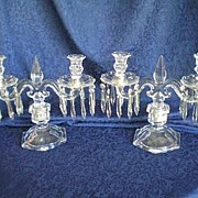 SALE Depression Glass Trident Pair Table Candelabra