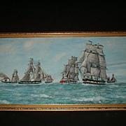 SALE Vintage Oil On Board Fleet Of Tall Ships At Sea c1945