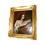 SALE Europeon Old School Oil Panel Of Young Woman Reading