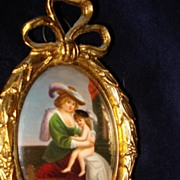French Miniature Oil On Porcelain Mother and Child