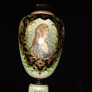 Bohemian Moser Glass  Hand Painted Gilded Portrait Vase