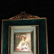 French Miniature Portrait Woman With Ormolu Frame c19th