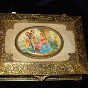 French Bronze Hand Painted Portrait Box c1900