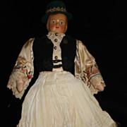 Vintage Hand Made Austrian Cloth Doll. c1920