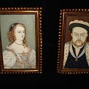 SALE Georgian Miniature Paintings King Henry Vlll and Elizabeth l