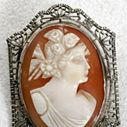10kt white Gold Carved Cameo Brooch