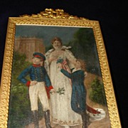 Miniature German Miniature Painting Queen Prussia with Sons Rare