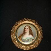 Miniature German porcelain Portrait of Woman signed Richter