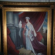 SALE PENDING Rare Queen Victoria Oil on Canvas framed painting