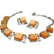 Butterscotch Leru Thermoset Demi Parure c1960 SALE