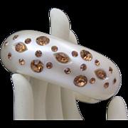 C1950's Ivory Celluloid Amber Rhinestone Hinged (Clamper) Bracelet