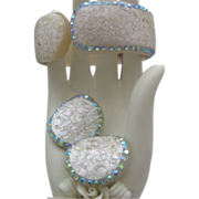 c1960 Ivory Celluloid Hinged Bracelet Earrings Set Aurora Borealis