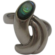 Twisted Sterling Abalone Ring Size 7