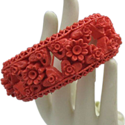Open deeply Carved Celluloid Hinged Bracelet c1950