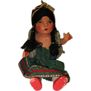 c1940 Composition Doll 10 inches Peru