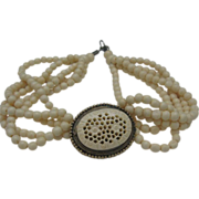 Deeply Carved Ivory Celluloid Necklace c1940